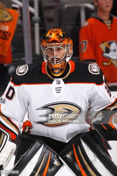 Ryan Miller of the Anaheim Ducks defends the net against the San Jose Sharks at SAP Center on November 4 2017 in San Jose California
