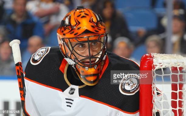 Ryan Miller of the Anaheim Ducks follows the puck during an NHL game against the Buffalo Sabres on February 6 2018 at KeyBank Center in Buffalo New...
