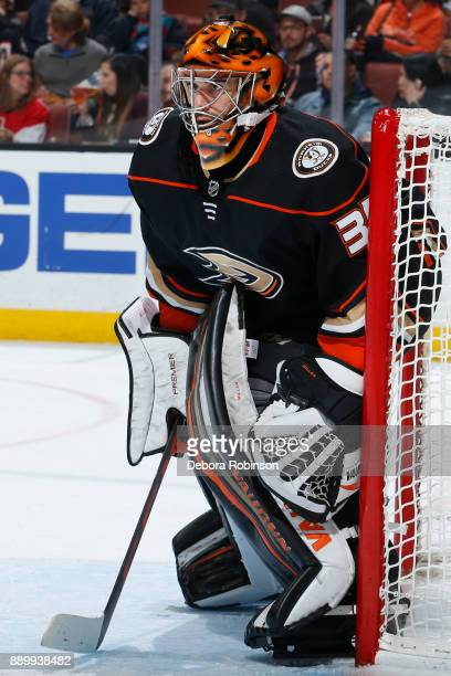 Ryan Miller of the Anaheim Ducks holds the crease during the game against the Ottawa Senators on December 6 2017 at Honda Center in Anaheim California