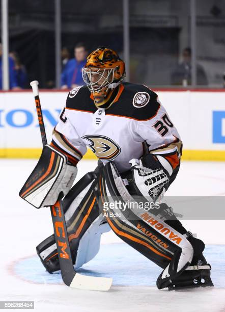 Ryan Miller of the Anaheim Ducks in action against the New York Islanders during their game at Barclays Center on December 21 2017 in New York City