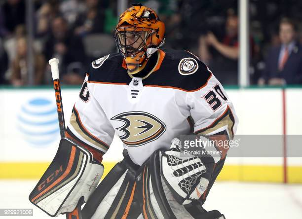 Ryan Miller of the Anaheim Ducks in goal against the Dallas Stars during the first period at American Airlines Center on March 9 2018 in Dallas Texas