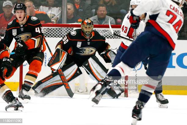 Ryan Miller of the Anaheim Ducks looks down the ice during a game against the Washington Capitals at Honda Center on February 17 2019 in Anaheim...