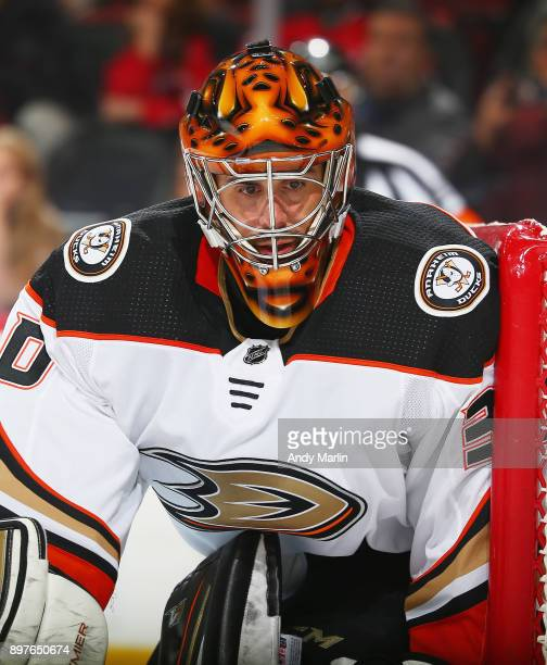 Ryan Miller of the Anaheim Ducks looks on against the New Jersey Devils at Prudential Center on December 18 2017 in Newark New Jersey