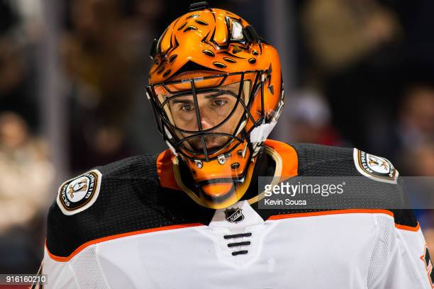 Ryan Miller of the Anaheim Ducks looks on against the Toronto Maple Leafs during the second period at the Air Canada Centre on February 5 2018 in...