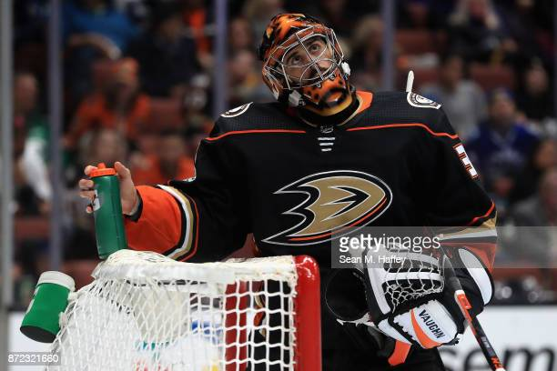 Ryan Miller of the Anaheim Ducks looks on during the second period of a game against the Vancouver Canucks at Honda Center on November 9 2017 in...