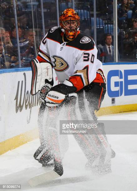 Ryan Miller of the Anaheim Ducks looks to clear the puck behind the net during an NHL game against the Buffalo Sabres on February 6 2018 at KeyBank...
