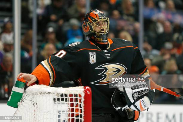Ryan Miller of the Anaheim Ducks looks up during a break in the second period against the Washington Capitals at Honda Center on February 17 2019 in...