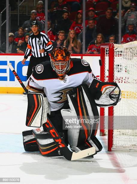 Ryan Miller of the Anaheim Ducks makes a save against the New Jersey Devils at Prudential Center on December 18 2017 in Newark New Jersey