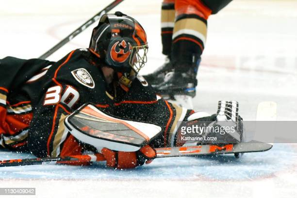 Ryan Miller of the Anaheim Ducks makes a save during the second period against the Washington Capitals at Honda Center on February 17 2019 in Anaheim...