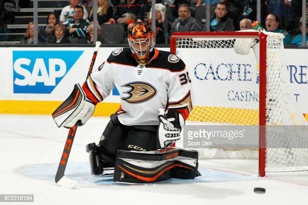 Ryan Miller of the Anaheim Ducks protects the net during a NHL game against the San Jose Sharks at SAP Center on November 4 2017 in San Jose...