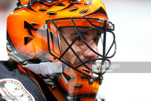 Ryan Miller of the Anaheim Ducks skates in warmups prior to the game against the New York Rangers on January 23 2018 at Honda Center in Anaheim...
