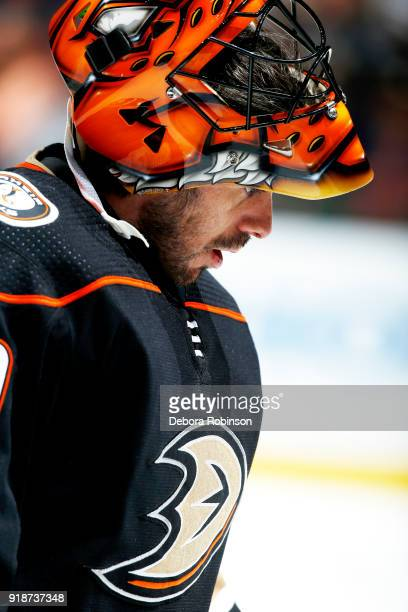 Ryan Miller of the Anaheim Ducks skates in warmups prior to the game against the San Jose Sharks on February 11 2018 at Honda Center in Anaheim...