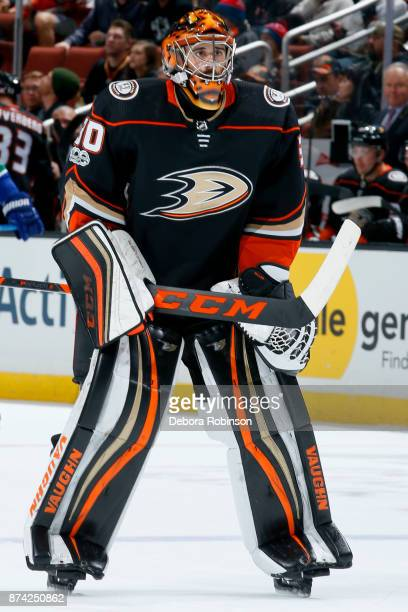 Ryan Miller of the Anaheim Ducks skates to the crease during the game against the Vancouver Canucks on November 9 2017 at Honda Center in Anaheim...