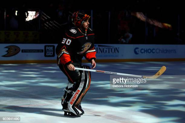 Ryan Miller of the Anaheim Ducks takes the ice as the game's first star following a 20 shutout win against the Dallas Stars on February 21 2018 at...