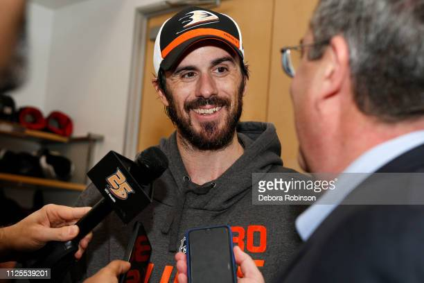Ryan Miller of the Anaheim Ducks talks in an interview after his 375th NHL win to become the league's winningest US-born goaltender following a 5-2...