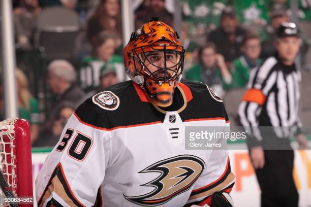 Ryan Miller of the Anaheim Ducks tends goal against the Dallas Stars at the American Airlines Center on March 9 2018 in Dallas Texas