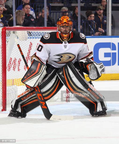 Ryan Miller of the Anaheim Ducks tends goal during an NHL game against the Buffalo Sabres on February 6 2018 at KeyBank Center in Buffalo New York