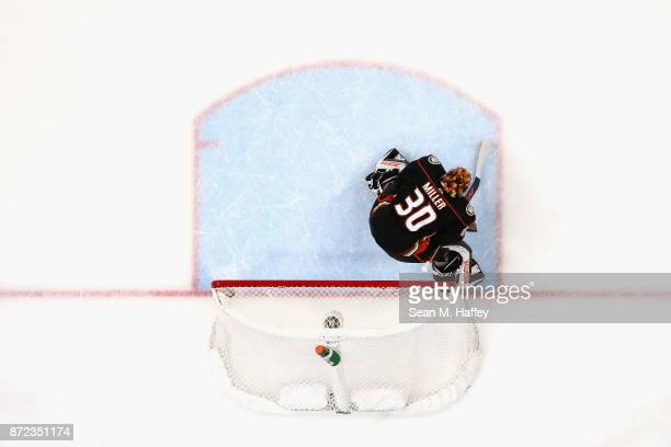 Ryan Miller of the Anaheim Ducks tends goal during the second period of a game against the Vancouver Canucks at Honda Center on November 9 2017 in...