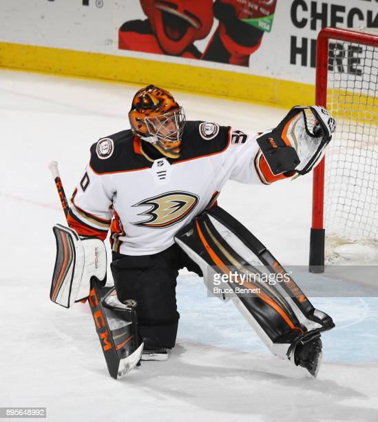 Ryan Miller of the Anaheim Ducks tends net against the New Jersey Devils at the Prudential Center on December 18 2017 in Newark New Jersey The Devils...