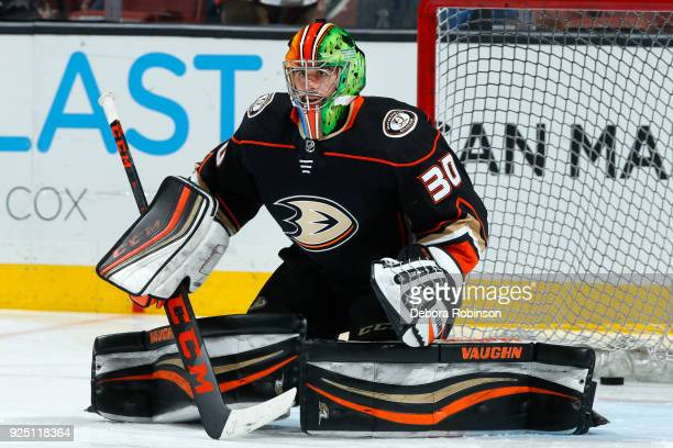 Ryan Miller of the Anaheim Ducks tends net during warmups of the game against the Edmonton Oilers on February 25 2018 at Honda Center in Anaheim...