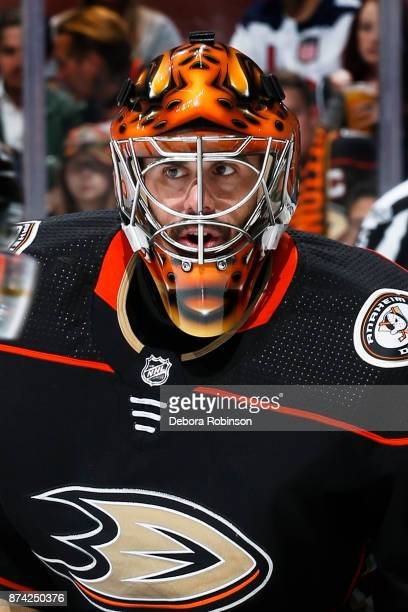 Ryan Miller of the Anaheim Ducks waits for a faceoff during the game against the Vancouver Canucks on November 9 2017 at Honda Center in Anaheim...