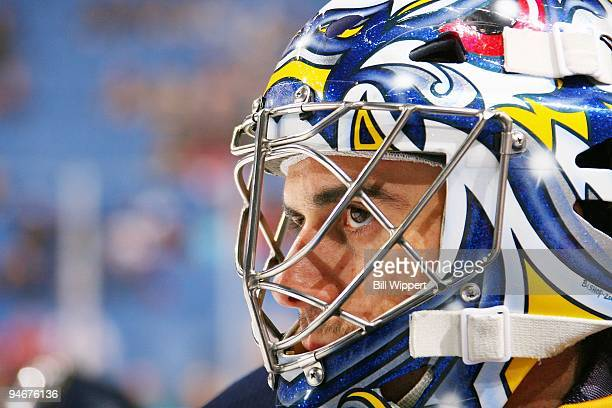 Ryan Miller of the Buffalo Sabres concentrates before the game against the Chicago Blackhawks on December 11 2009 at HSBC Arena in Buffalo New York