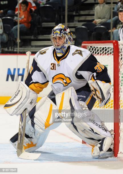 Ryan Miller of the Buffalo Sabres eyes the play against the Nashville Predators on October 10 2009 at the Sommet Center in Nashville Tennessee
