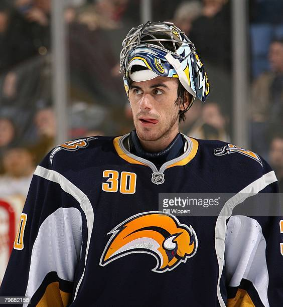 Ryan Miller of the Buffalo Sabres leaves the ice during their game against the Boston Bruins on February 8, 2008 at HSBC Arena in Buffalo, New York.