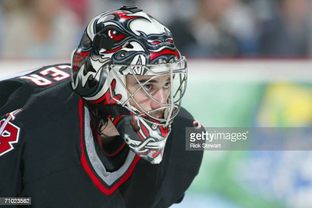 Ryan Miller of the Buffalo Sabres looks on against the Ottawa Senators in game three of the Eastern Conference Semifinals during the 2006 NHL...