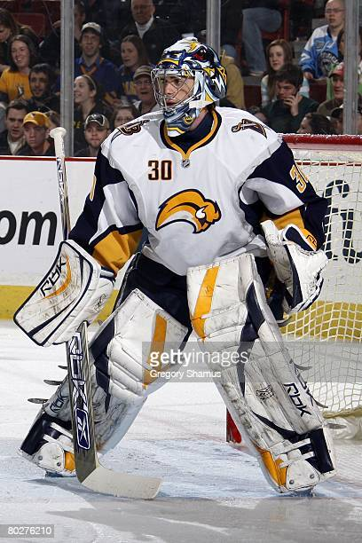 Ryan Miller of the Buffalo Sabres looks up ice against the Pittsburgh Penguins on March 12 2008 at Mellon Arena in Pittsburgh Pennsylvania