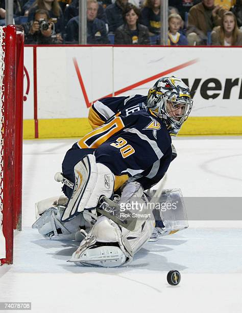 Ryan Miller of the Buffalo Sabres makes a kick save against the New York Rangers during Game 5 of the 2007 Eastern Conference Semifinals at HSBC...