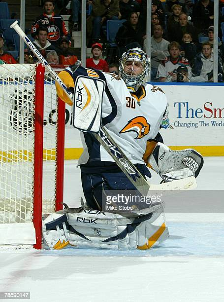 Ryan Miller of the Buffalo Sabres makes a pad save against the New York Islanders on December 19, 2007 at Nassau Coliseum in Uniondale, New York