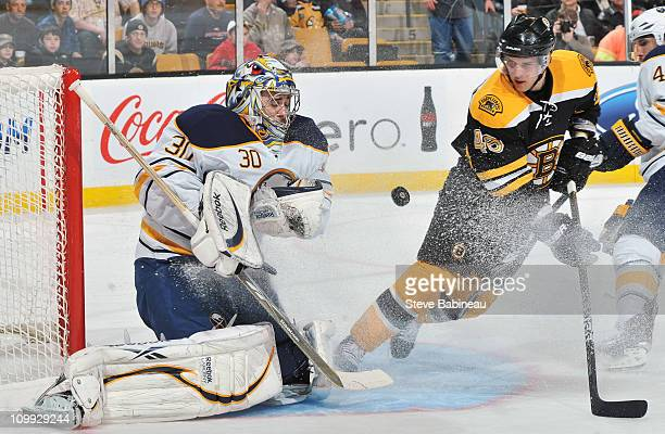 Ryan Miller of the Buffalo Sabres makes a save against the Boston Bruins at the TD Garden on March 10 2011 in Boston Massachusetts