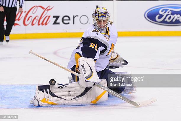 Ryan Miller of the Buffalo Sabres makes a save against the Boston Bruins at the TD Garden on March 29, 2010 in Boston, Massachusetts.