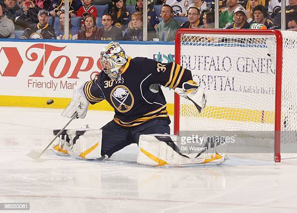 Ryan Miller of the Buffalo Sabres makes a save against the Boston Bruins in Game Two of the Eastern Conference Quarterfinals during the 2010 NHL...
