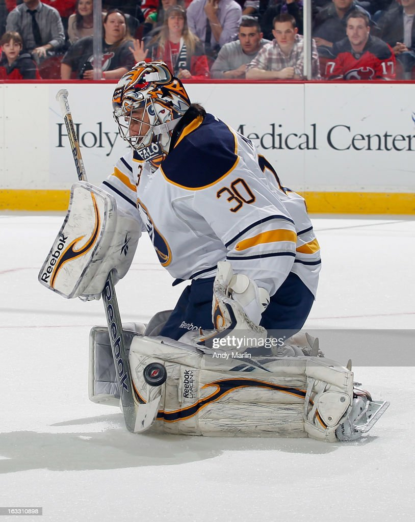 Ryan Miller #30 of the Buffalo Sabres makes a save against the New Jersey Devils during the game at the Prudential Center on March 7, 2013 in Newark, New Jersey.