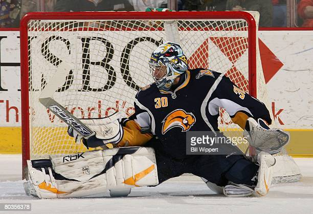 Ryan Miller of the Buffalo Sabres makes a save against the Toronto Maple Leafs on March 21, 2008 at HSBC Arena in Buffalo, New York.