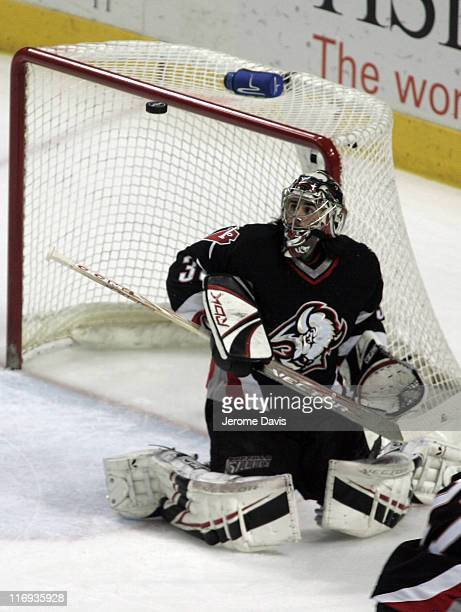Ryan Miller of the Buffalo Sabres makes a stick save during game 3 of the Eastern Conference Semifinals versus the Ottawa Senators at the HSBC Arena...