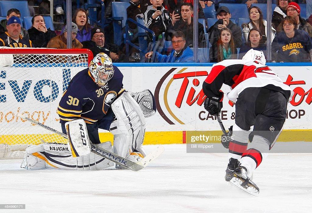 Ryan Miller #30 of the Buffalo Sabres makes the game winning shootout save against Erik Condra #22 of the Ottawa Senators on December 10, 2013 at the First Niagara Center in Buffalo, New York. Buffalo won, 2-1.
