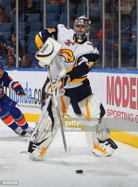 Ryan Miller of the Buffalo Sabres skates against the New York Islanders on October 31, 2009 at Nassau Coliseum in Uniondale, New York. Islanders...