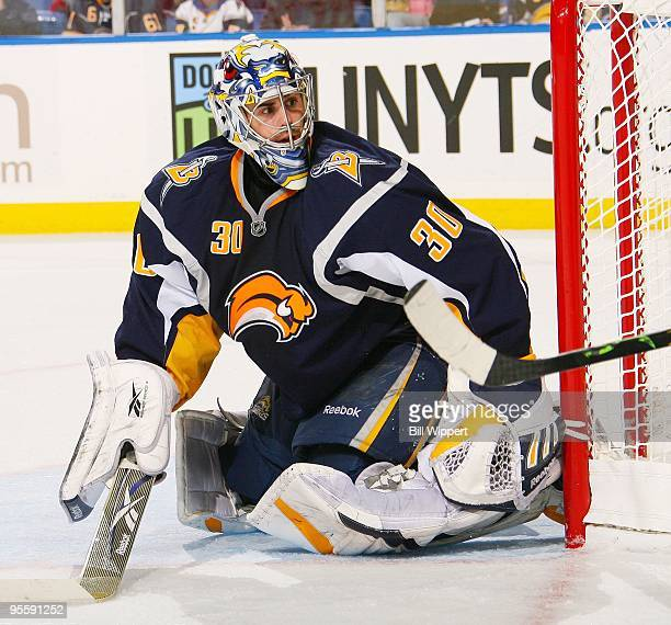 Ryan Miller of the Buffalo Sabres tends goal against the Atlanta Thrashers on January 1 2010 at HSBC Arena in Buffalo New York