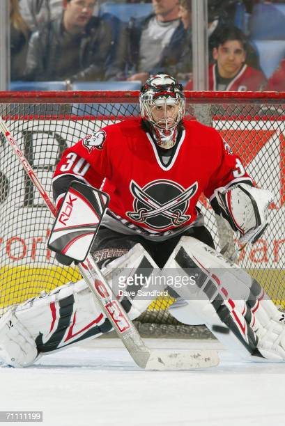 Ryan Miller of the Buffalo Sabres tends goal against the Ottawa Senators at HSBC Arena on March 24, 2006 in Buffalo, New York. The Senators defeated...