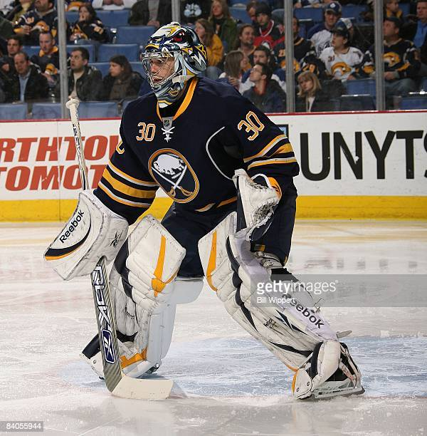Ryan Miller of the Buffalo Sabres tends goal against the Toronto Maple Leafs on December 12 2008 at HSBC Arena in Buffalo New York