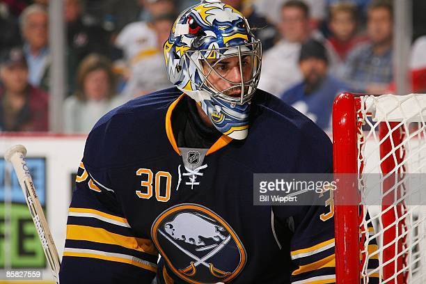 Ryan Miller of the Buffalo Sabres tends goal against the Toronto Maple Leafs on March 27, 2009 at HSBC Arena in Buffalo, New York.