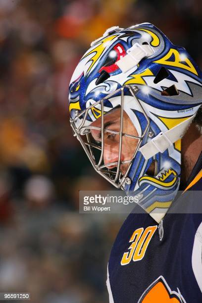 Ryan Miller of the Buffalo Sabres waits for a faceoff against the Atlanta Thrashers on January 1 2010 at HSBC Arena in Buffalo New York