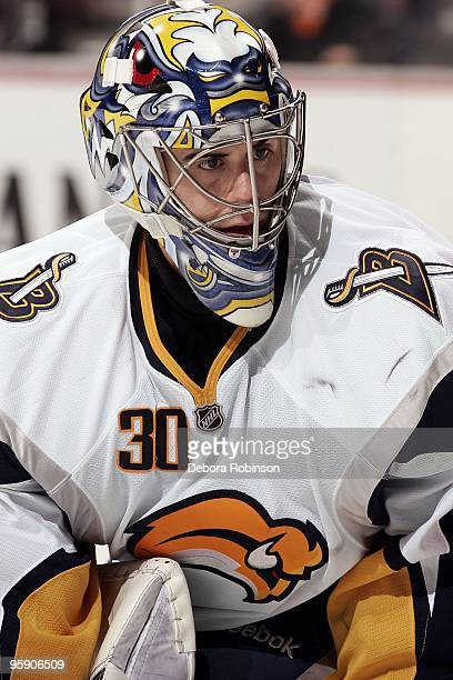 Ryan Miller of the Buffalo Sabres watches for the puck in the crease during the game against the Anaheim Ducks on January 19 2010 at Honda Center in...