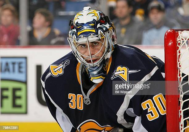 Ryan Miller of the Buffalo Sabres watches the action against the Pittsburgh Penguins on February 17, 2008 at HSBC Arena in Buffalo, New York.