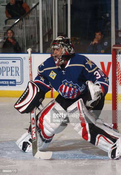 Ryan Miller of the Rochester Americans tends goal against the Toronto Marlies at Ricoh Coliseum on December 11 2005 in Toronto Ontario Canada...