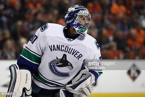 Ryan Miller of the Vancouver Canucks looks on during the third period of a game against the Anaheim Ducks at Honda Center on October 23 2016 in...