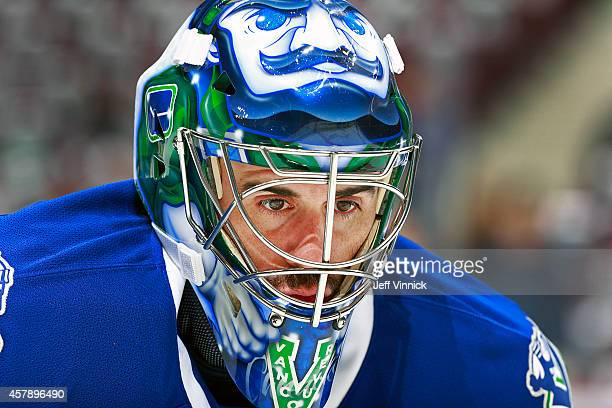 Ryan Miller of the Vancouver Canucks looks on from his crease during their NHL game against theTampa Bay Lightning at Rogers Arena October 18, 2014...